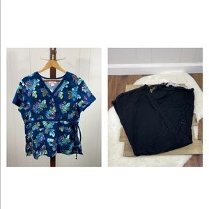 Koi Kathryn Floral Print Top and Black Lindsey Bottoms Scrubs Set